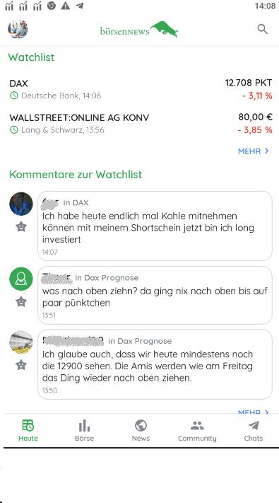 Watchlist Aktienapp