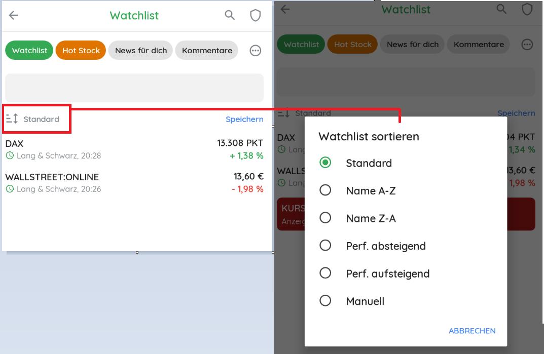 Watchlist Sortierung